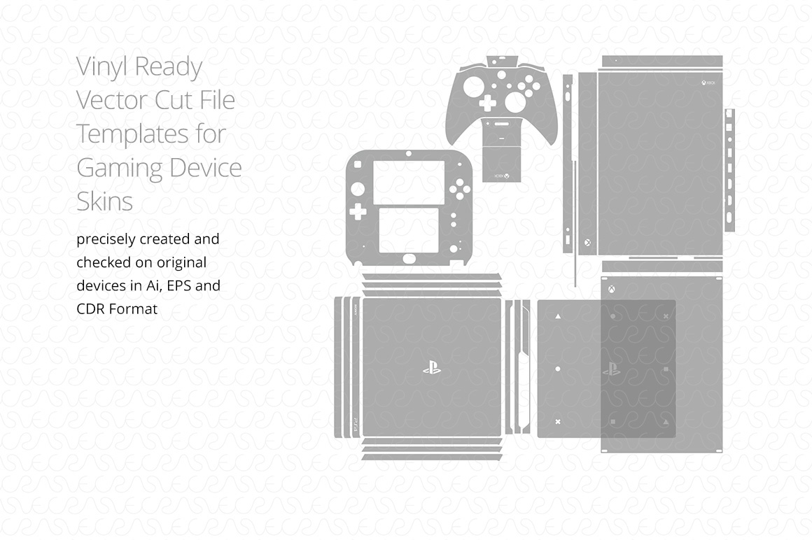 vinyl ready vector cut file template for gaming skins on