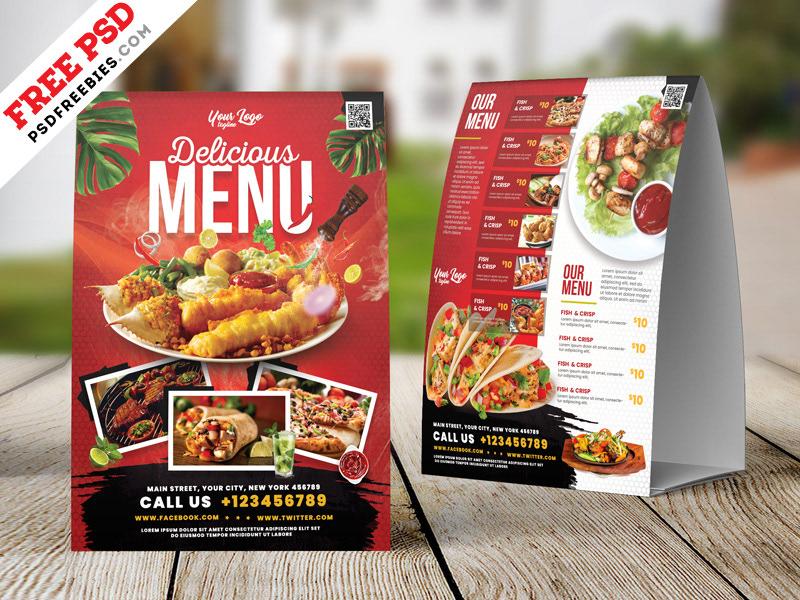 restaurant food menu table tent psd on behance