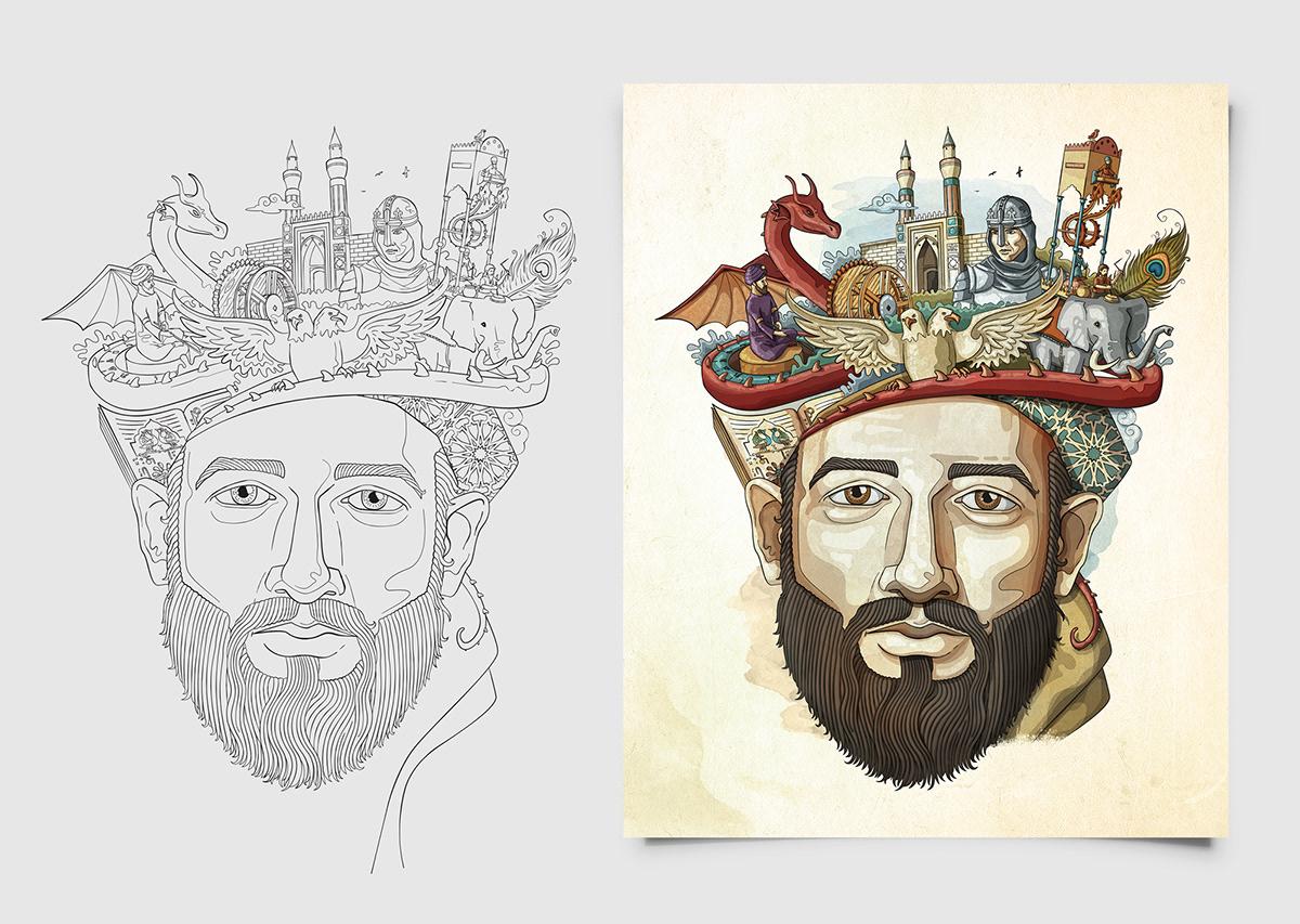 jazari CEZERİ sergi Exhibition  ILLUSTRATION  portrait portre Drawing  poster