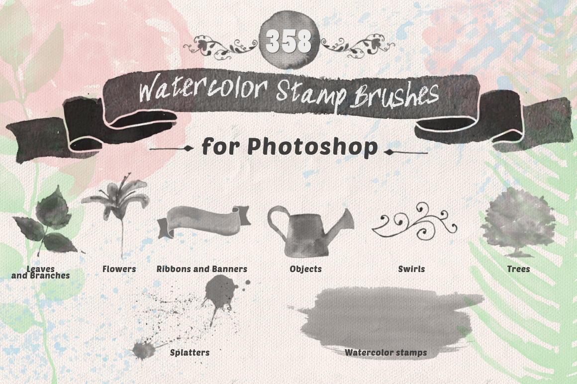 Watercolor brushes  watercolor brushes floral flower brushes photoshop handdrawn Painted natural Nature