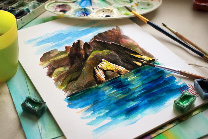 watercolor ILLUSTRATION  grapes horse sea seagull deer Character idea