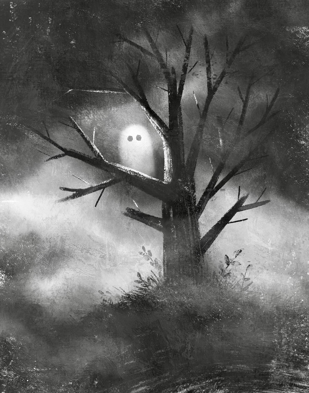 Image may contain: fog, black and white and drawing
