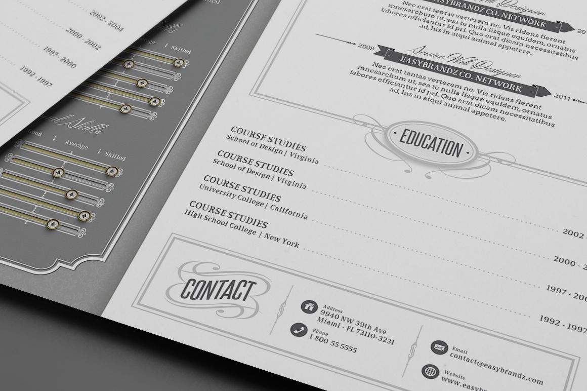 retro resume template on behance