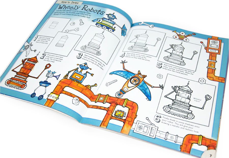 Illustrated Robots double page spread from How to draw Machined, by illustrator Fiona Gowen