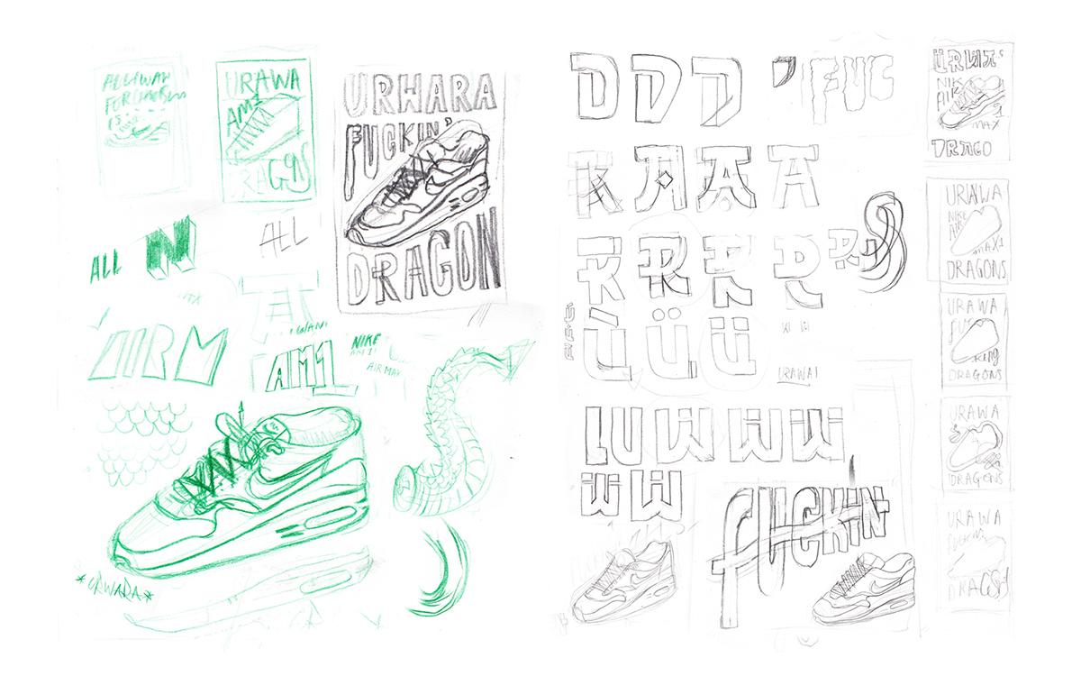 type lettering handmade Nike Air Max 1 air max Handmade Type hand drawn type Urawa Dragons trainers sneakers