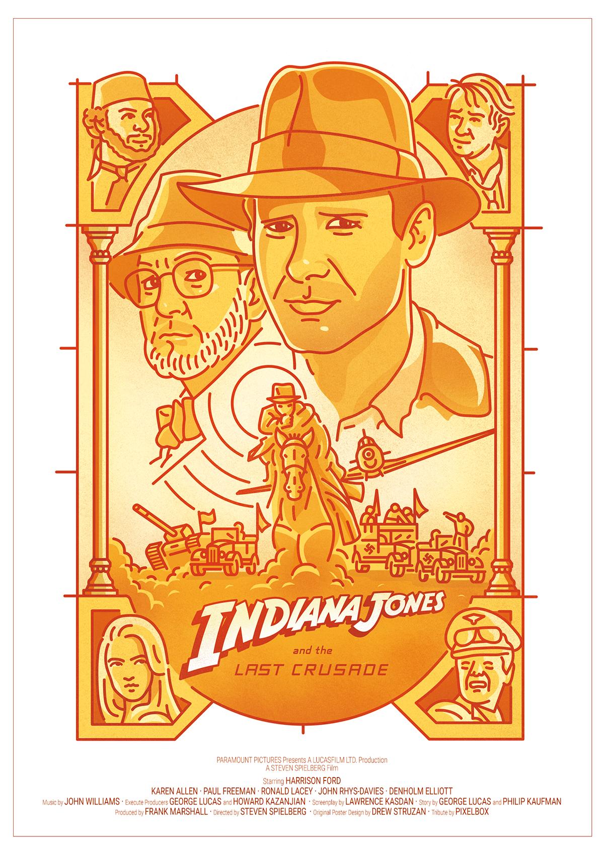indiana jones indy Drew Struzan trilogy movie poster carteles Lost Ark Harrison Ford last crusade doom