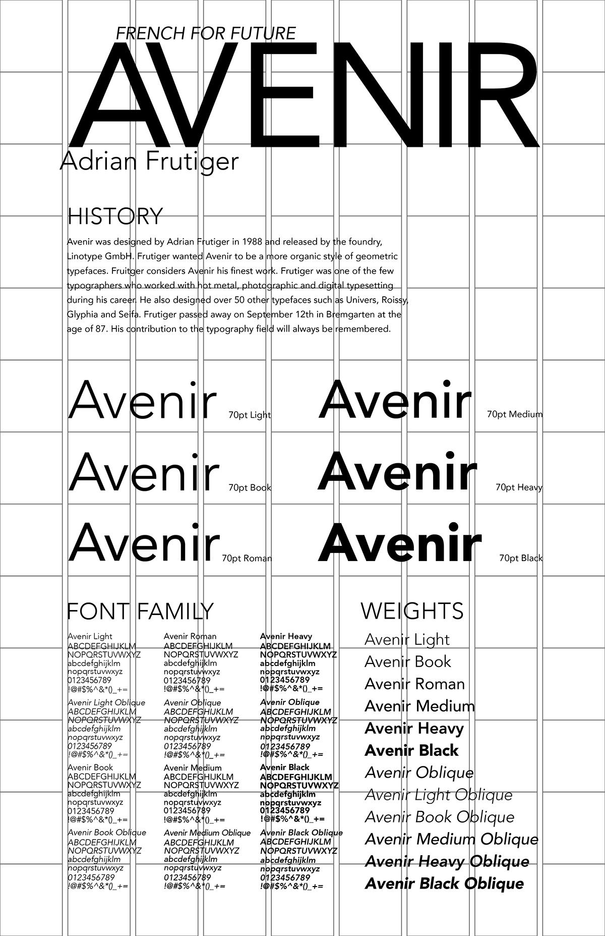 Avenir Type Specimen on Behance