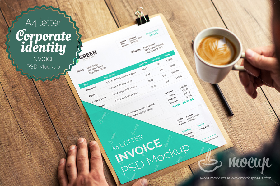 Invoice Psd Template Mockup A On Behance