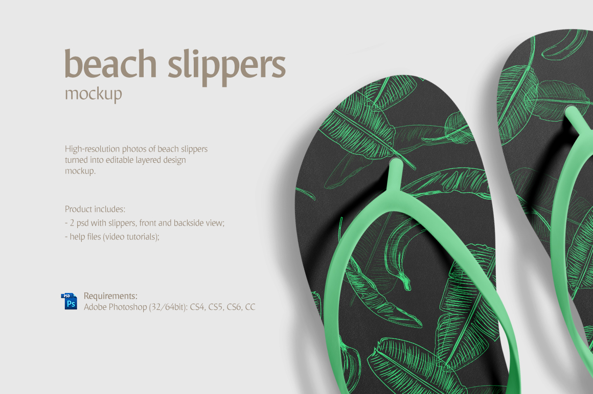 e9036af58 This mockup features a hi-res photo of beach slippers isolated on a  customizable background. The mockup includes 2 psd items