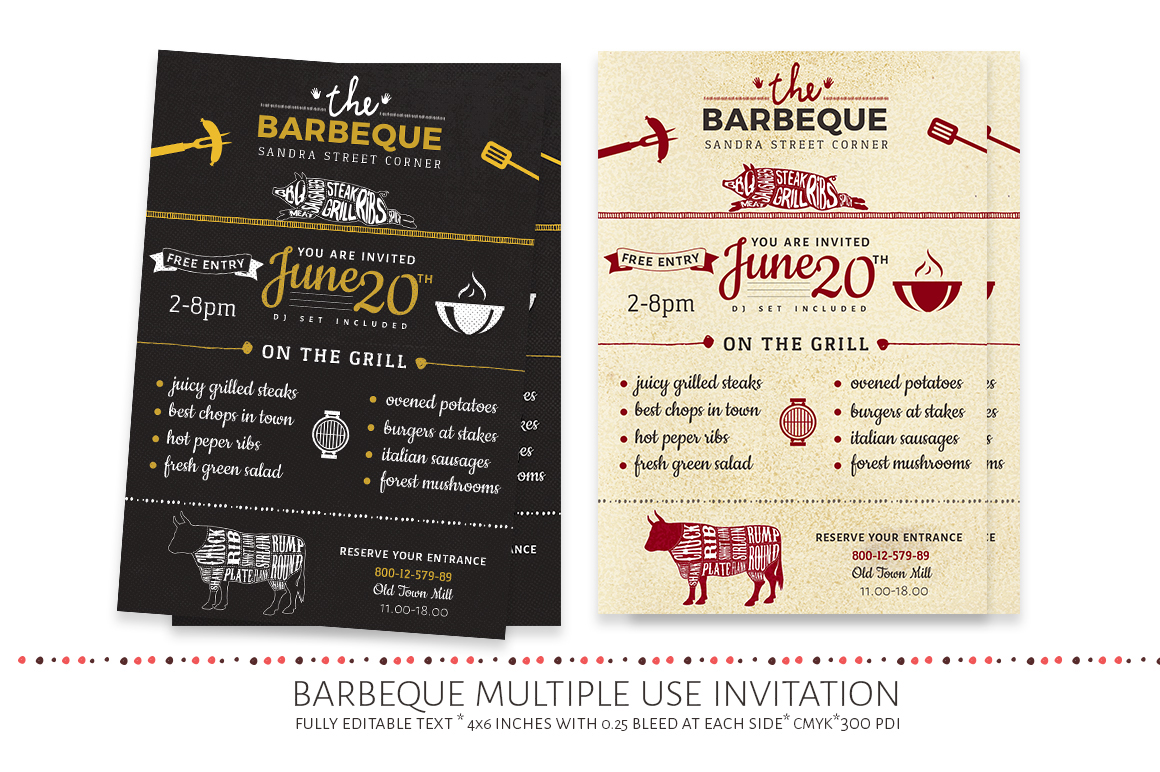 a modern barbeque invitation that can also be used as a restaurant event flyer with adequate space to write the menu and all the necessary info