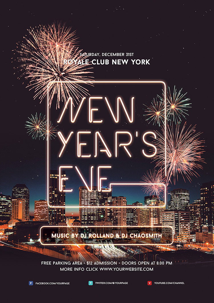 New Years Eve Flyer Template + Instagram on Behance