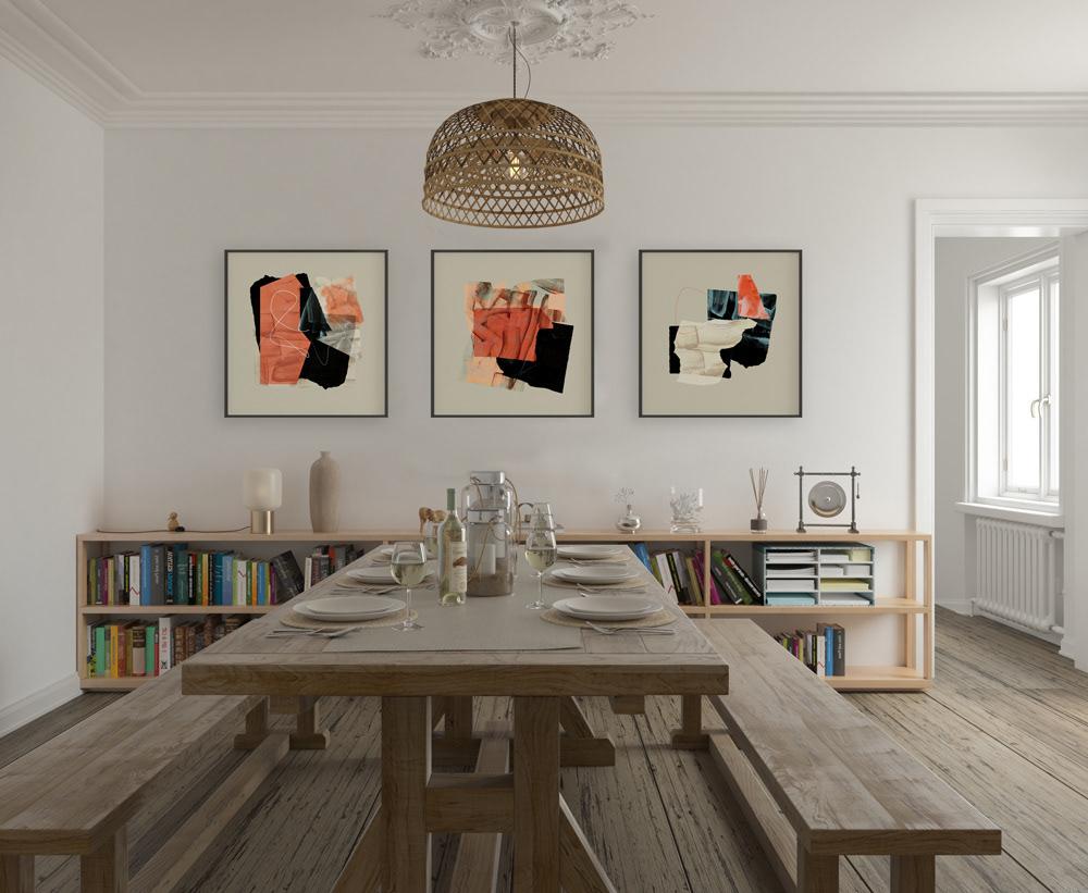abstract art brush-strokes Interior modern shapes