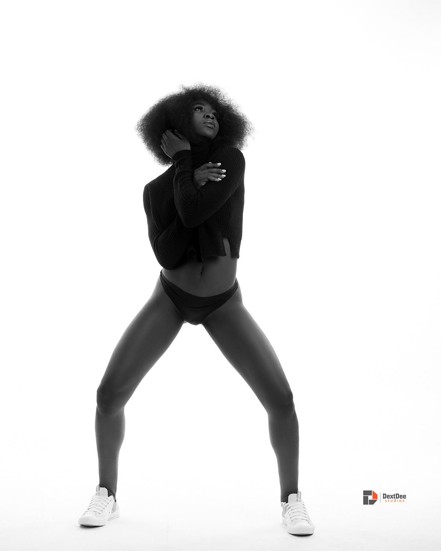 afro black and white DextDee Studios monochrome