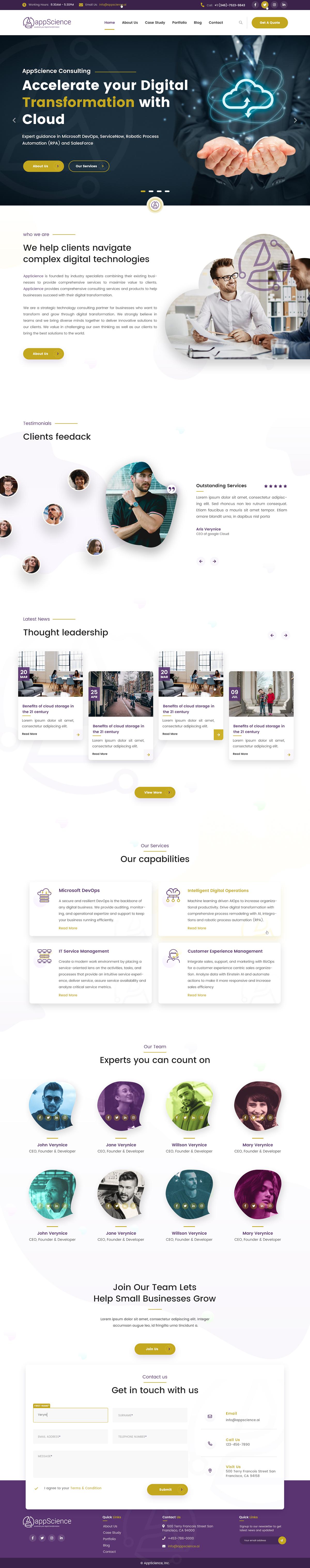 Consulting Cloud Consulting corporate website Modern Design clean website design minimalist modern simple Website Agency website