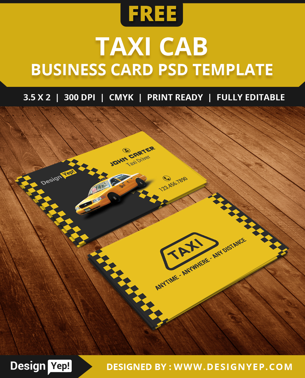 free taxi cab business card template psd on behance. Black Bedroom Furniture Sets. Home Design Ideas
