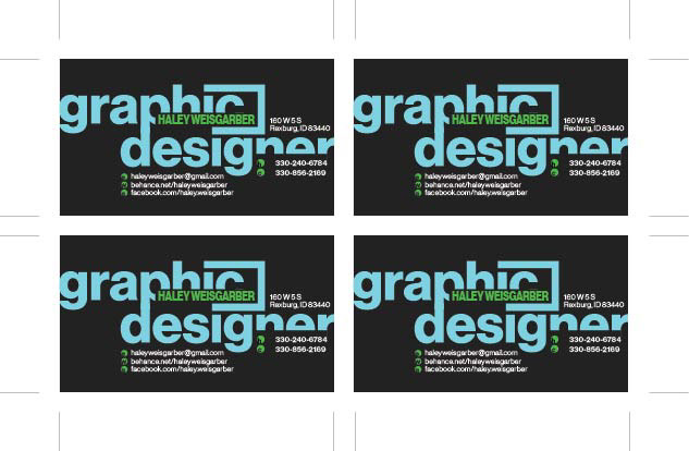 Graphic designer business card on behance this is the step i created to be able to print out four cards at a time with trim marks reheart Gallery
