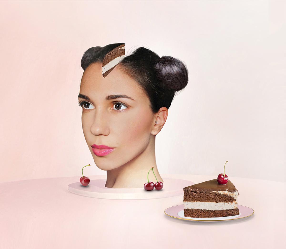 Photography  pink beauty makeup cake lips model art Bojana Knezevic art direction