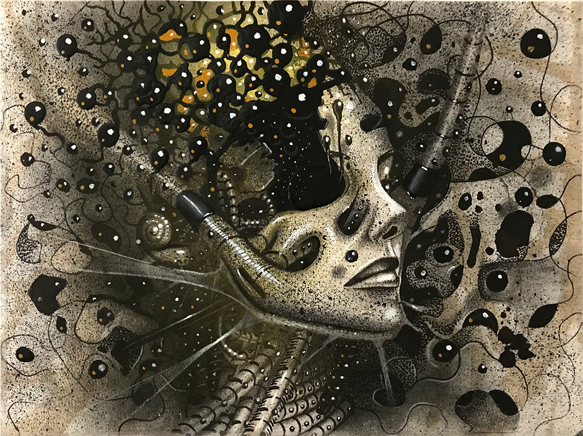 ink pencil pen graphite pop surreal STEAMPUNK case studies popsurrealism hatching Samuel Gomez