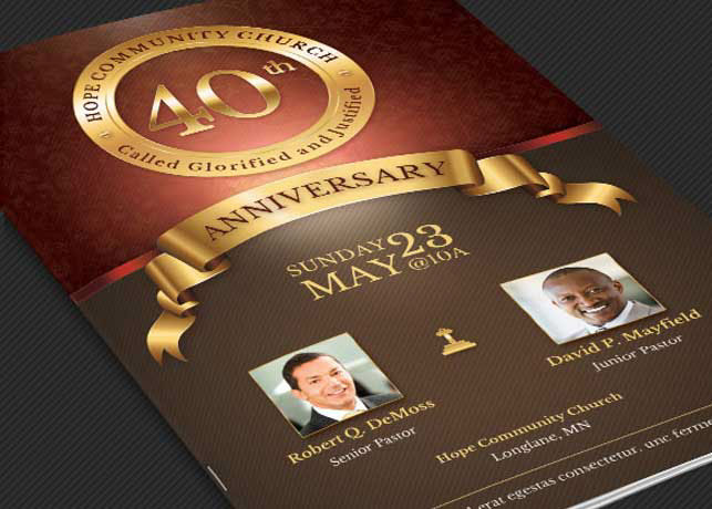 Church Anniversary Program Template On Behance