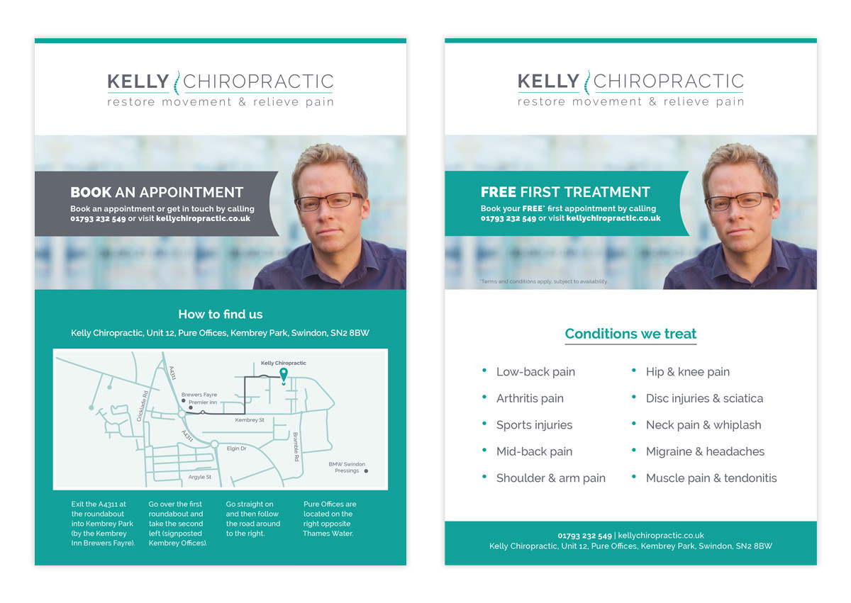 Website Chiropractic Small Business chiropractor adverts facebook social media medical clinic a5 flyer Stationery business card letterhead appointment card Newspaper advertising
