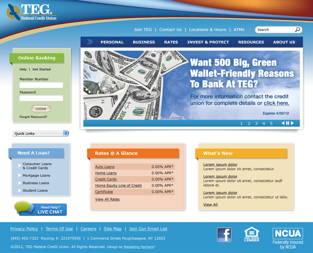 Teg Federal Credit Union Website Redesign On Behance