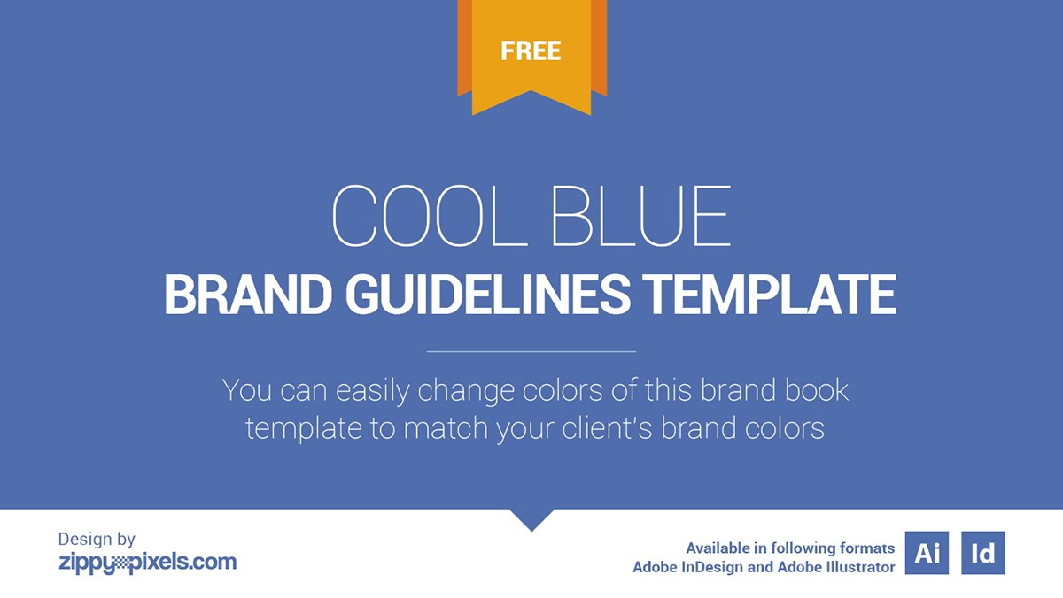 free brand book template cool blue