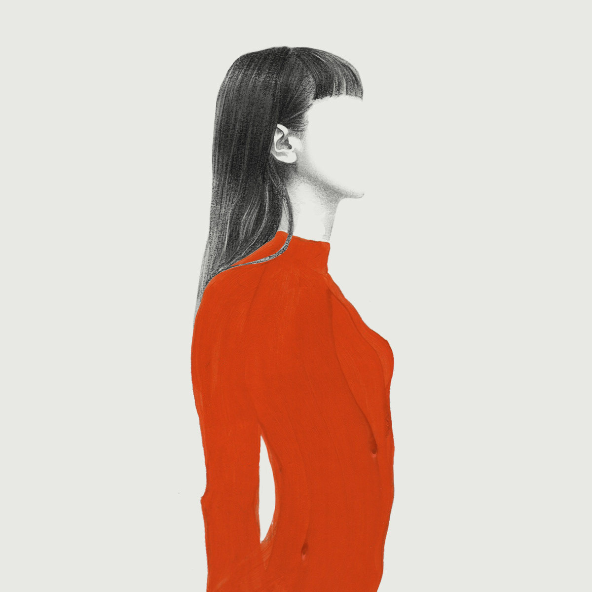 A watercolour painting of a woman, standing sideways in a red shirt, but she has no face.