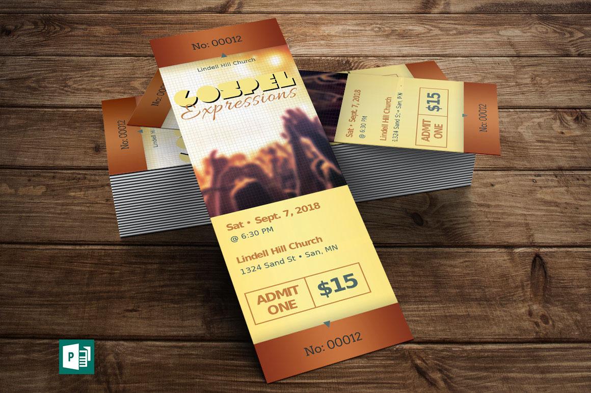 Gospel Concert Ticket Publisher Template on Behance