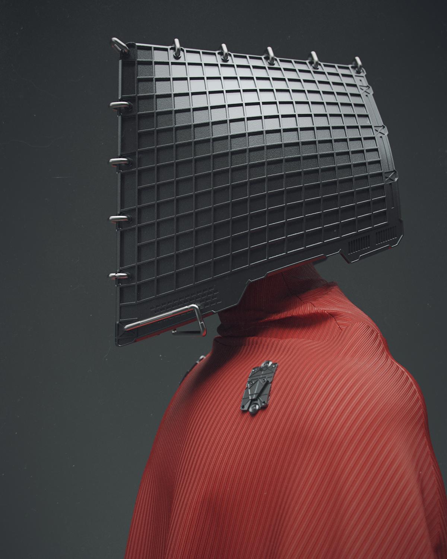 3D red cardinal black dark mood drapery folds modeling Character HardSurface organic