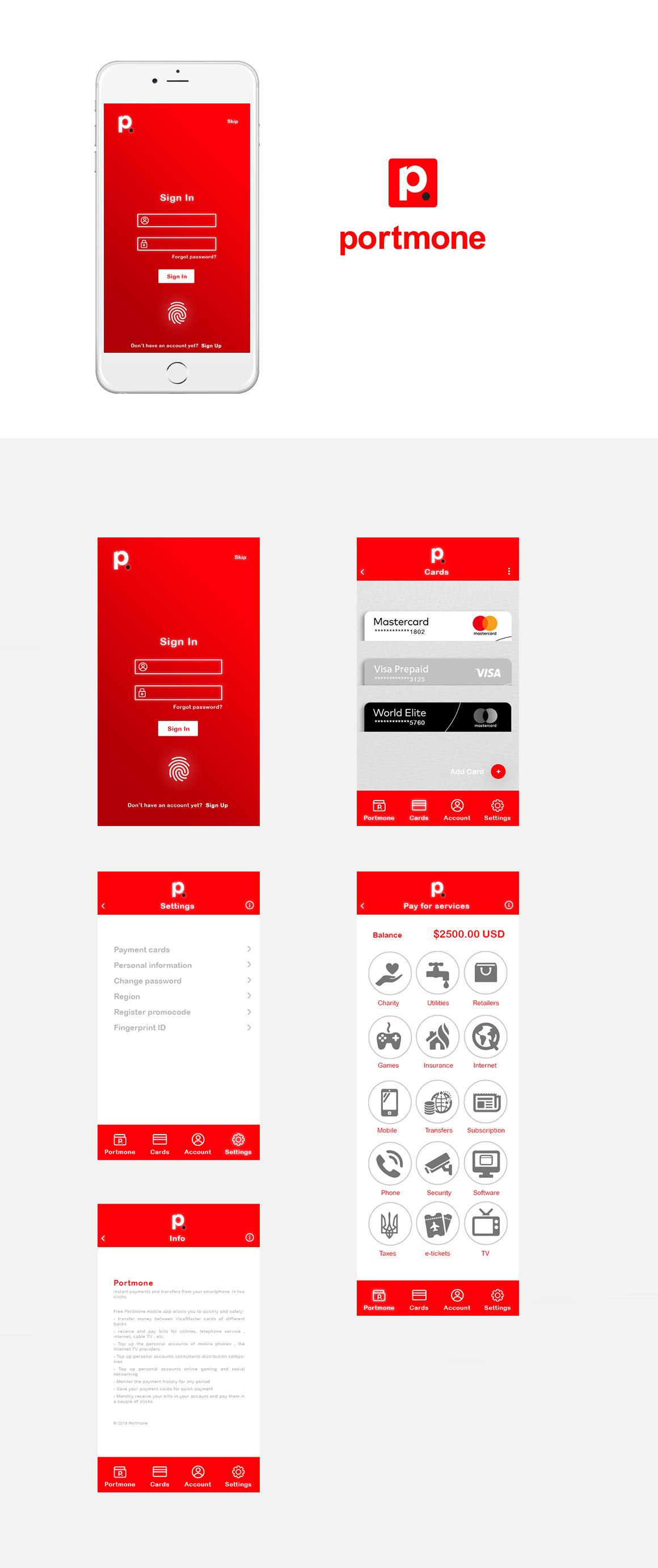 portmone app design UI ux mobile