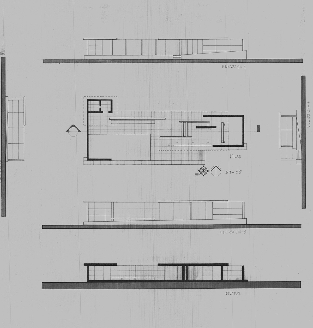 Barcelona pavilion section drawing - Drafted Plan And Elevations
