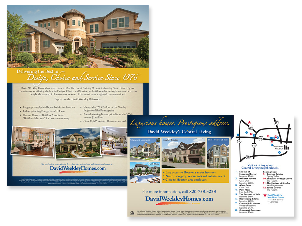 David Weekley Homes Advertising/Direct Mail on Behance