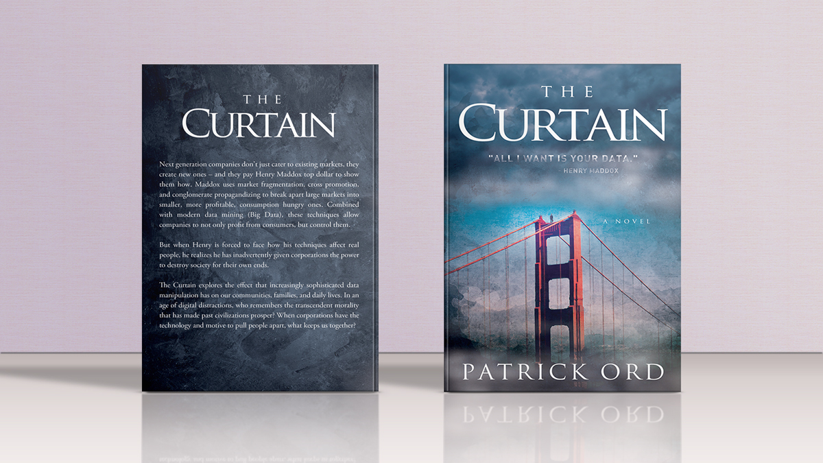 the curtain book cover hardcover standing front a back psd mockup