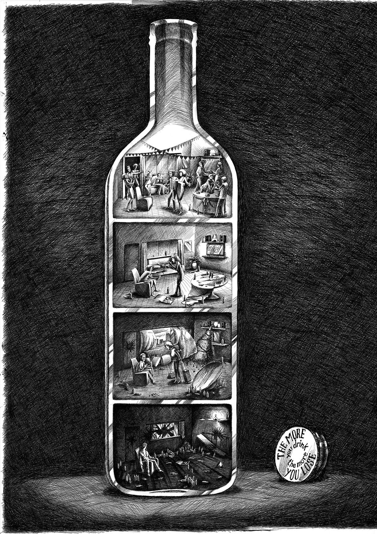 illustrazione visualizer storyboard tecniche miste Tratto campagna sociale antoniovalestra