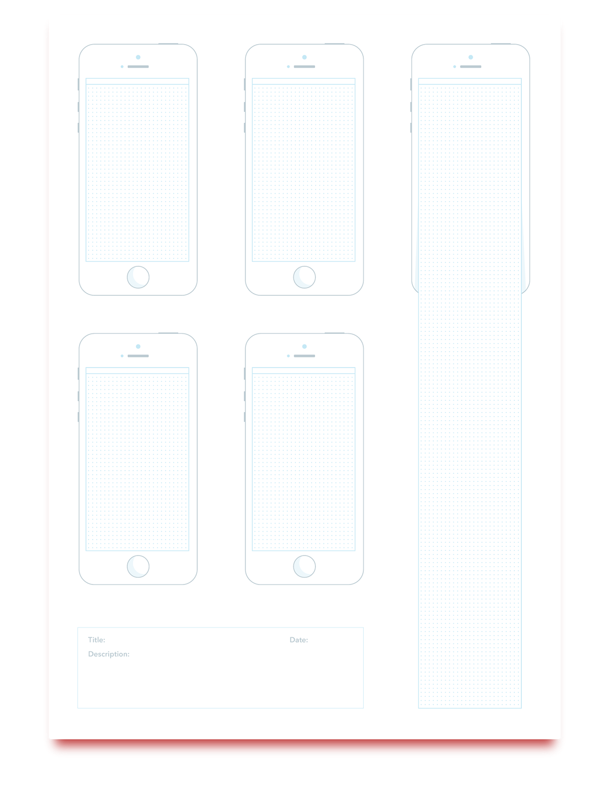 template wireframe print UI sketch pdf mobile iphone