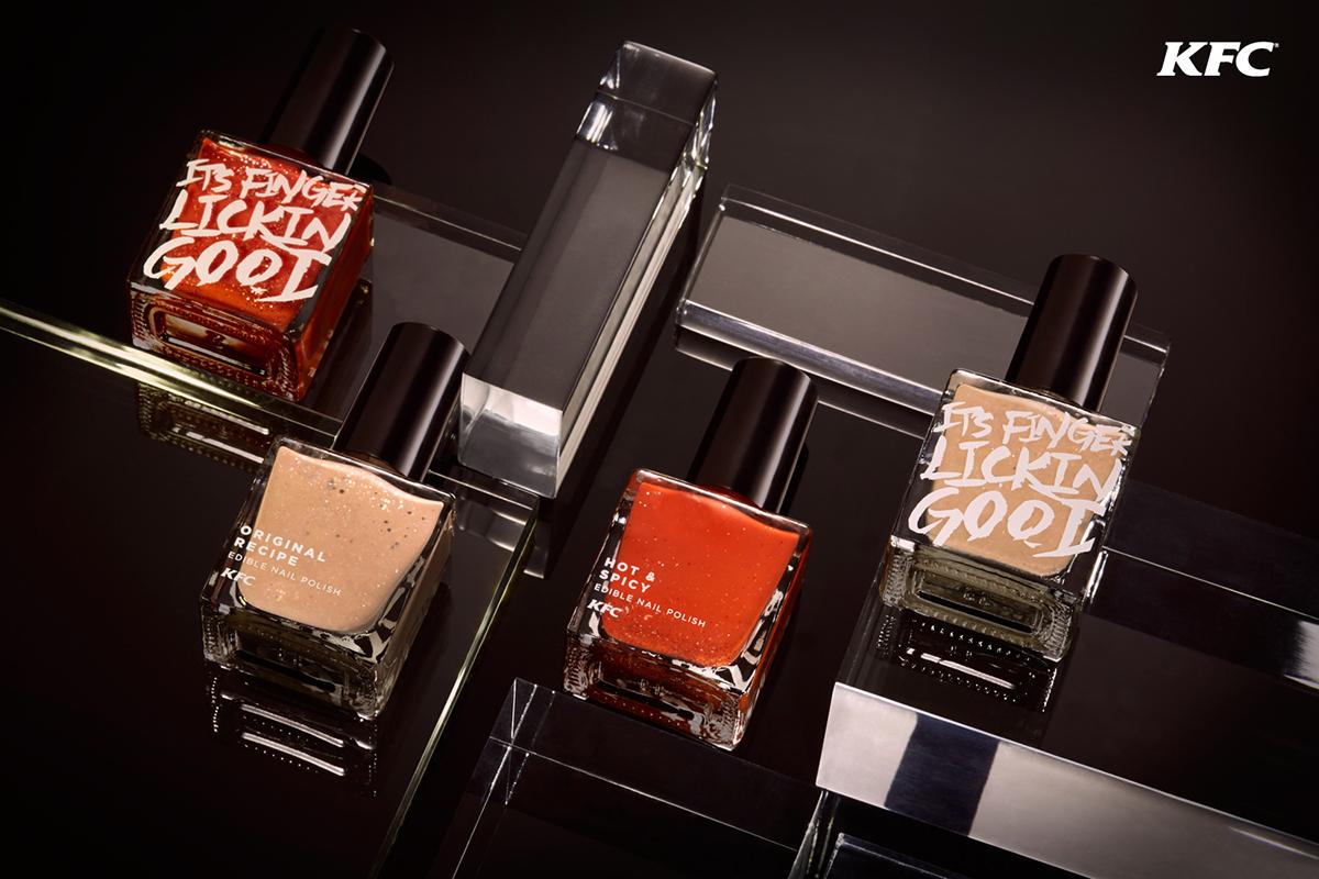 KFC kfcnailpolish cosmetics nails manicure polish originalrecipe hot&spicy red kfchk colour Food  Behance design type
