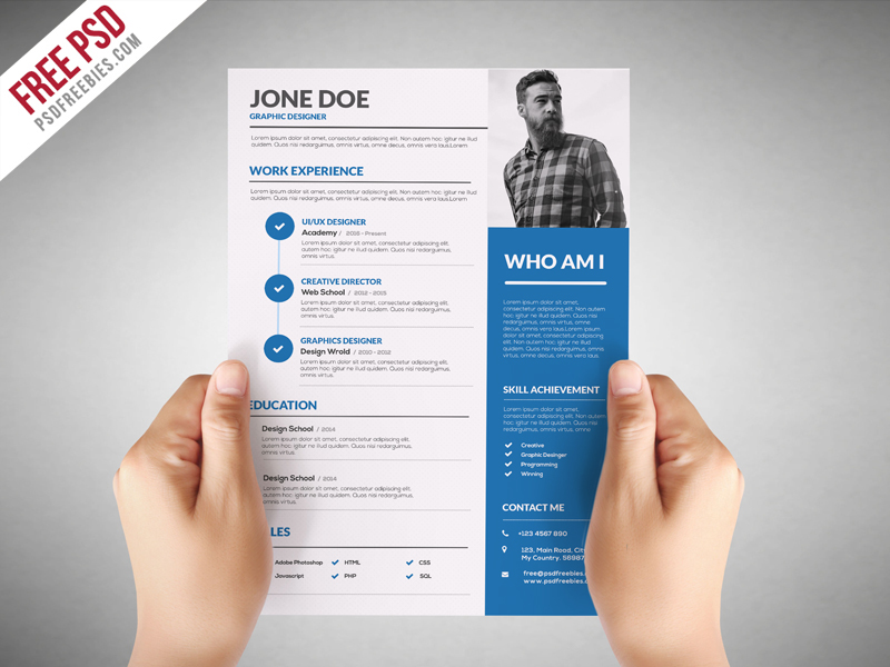 Download Graphic Designer Resume Template Free PSD This CV Is Easy To Use And Customize So You Can Quickly Tailor Make Your