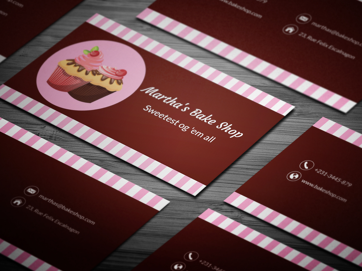 10 free professional bakery business cards templates on student show strawberry cupcake bakery card download here reheart Gallery