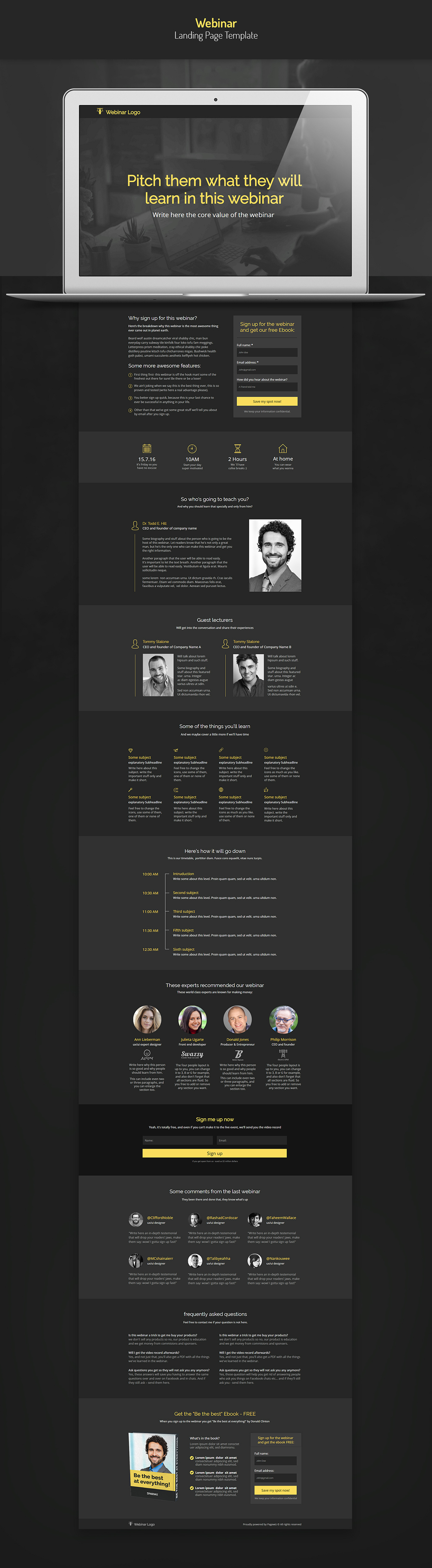 Black Webinar Landing Page Template on Student Show