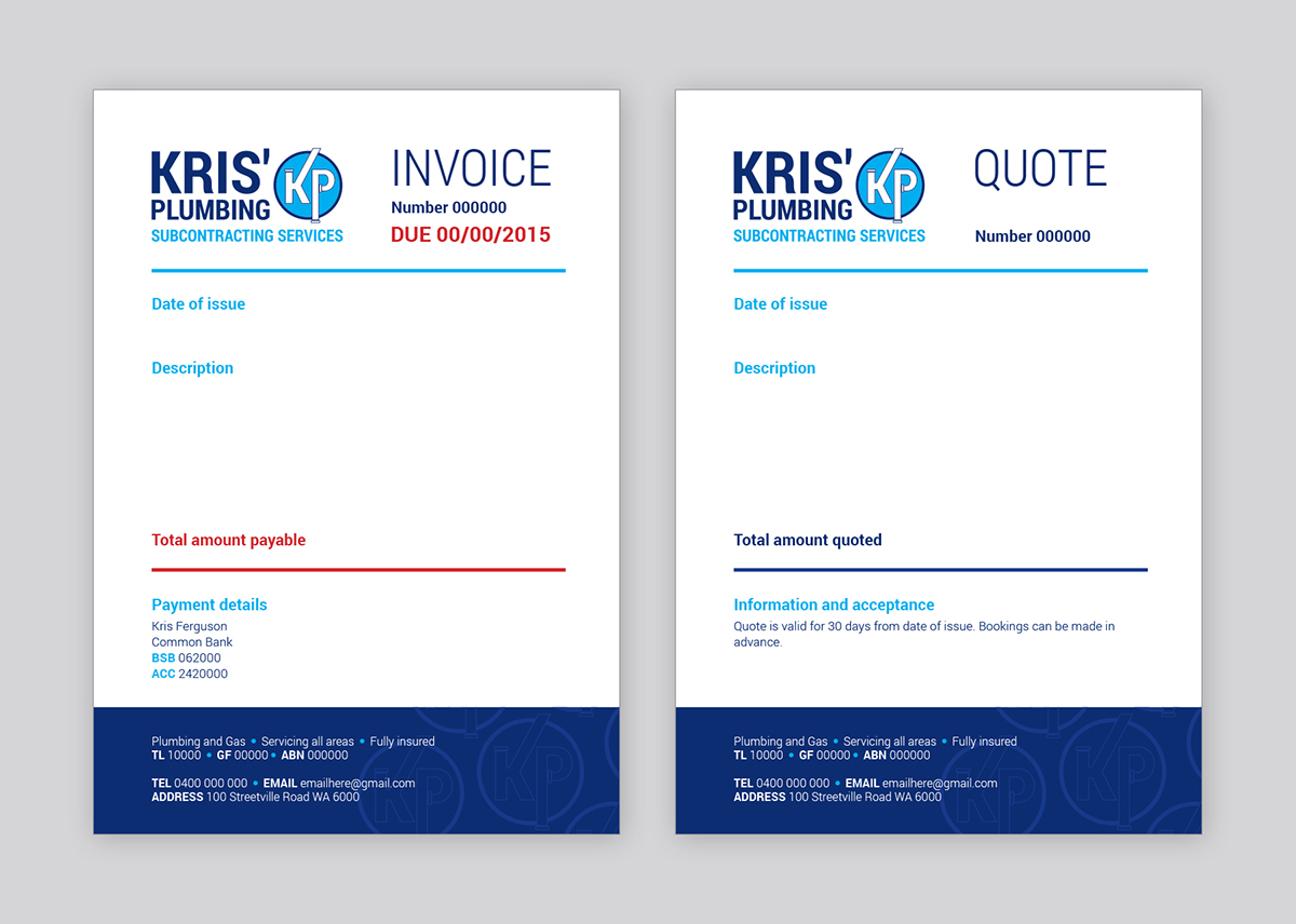 an invoice and quote template