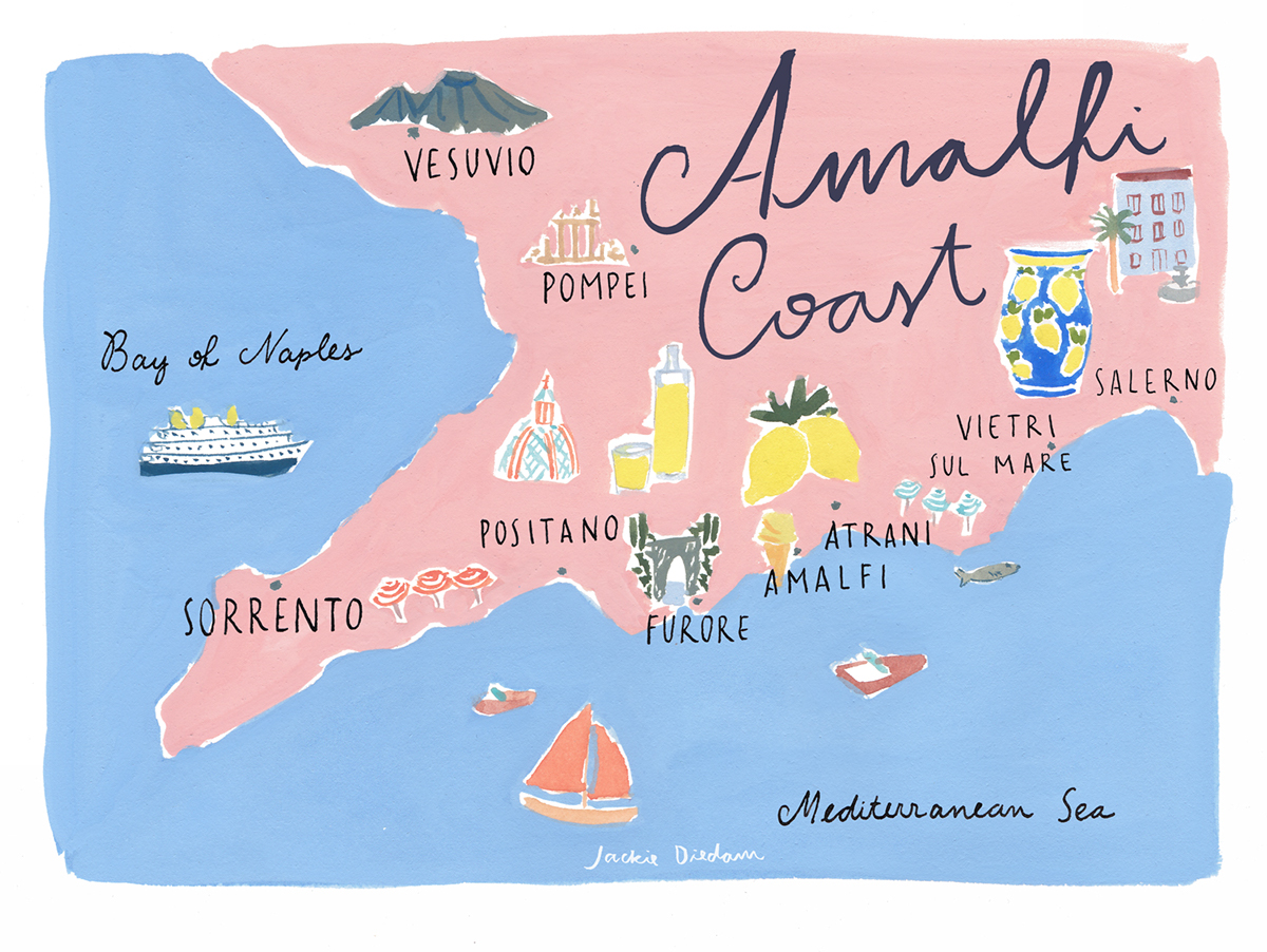 Amalfi Coast on Behance on genoa map, cagliari map, venice map, lake como map, salerno map, croatia map, spain map, cinque terre map, greece map, sorrento map, france map, umbria map, sicily map, capri map, europe map, italy map, positano map, naples map, tuscany map, turin map,