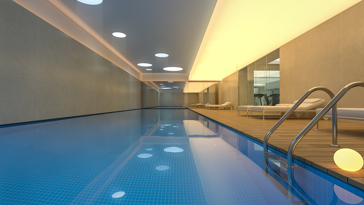 Skygate 3d visualisation on behance for Indoor swimming pool in lebanon
