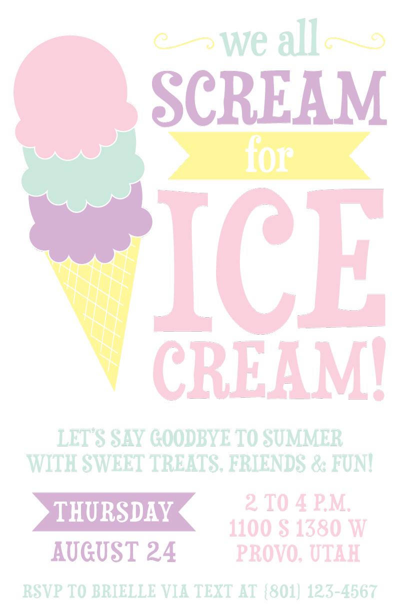ice cream party invite on behance