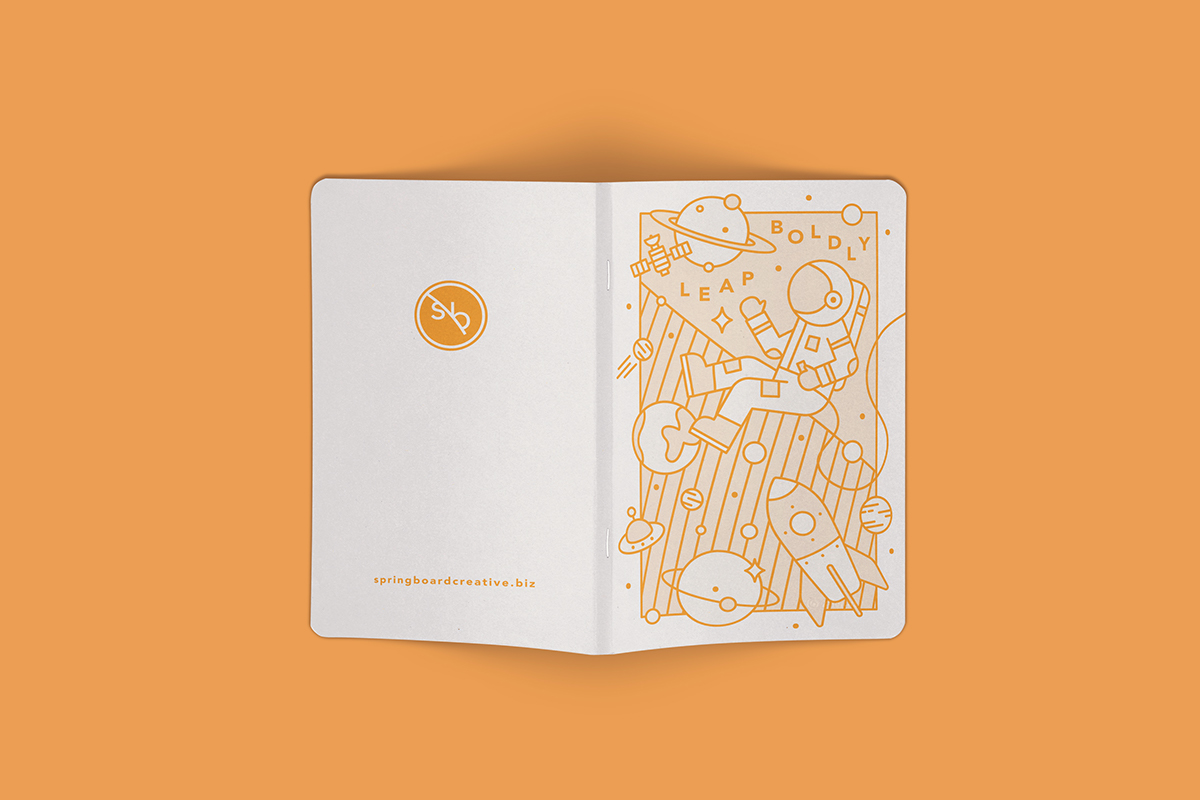 outerspace sketchbook astronaut notebook orange