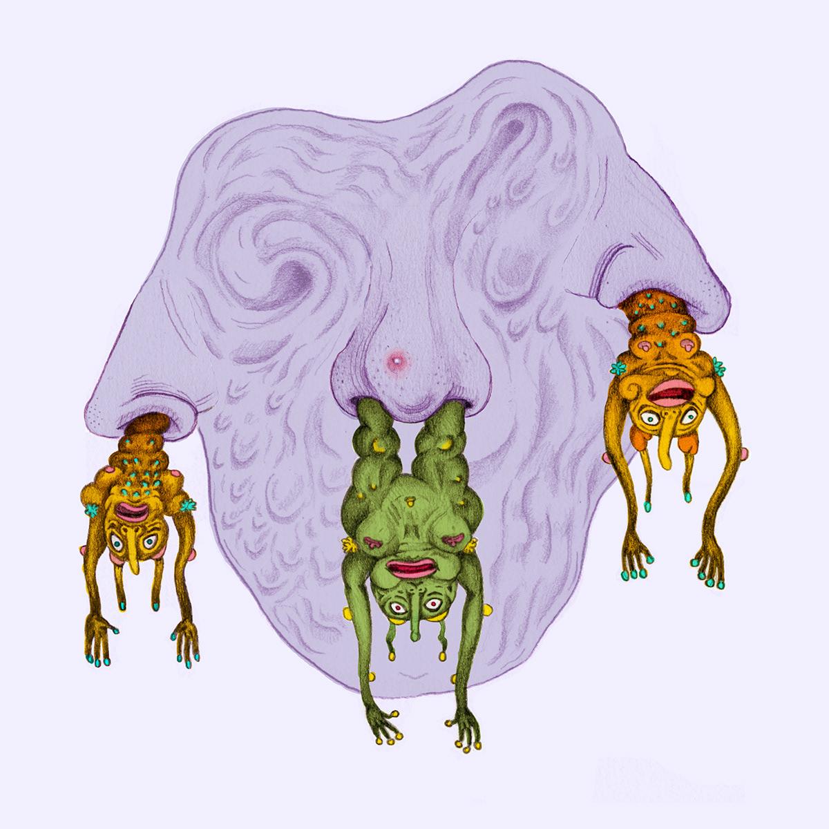 booger monster Character weird nose sick  design germs