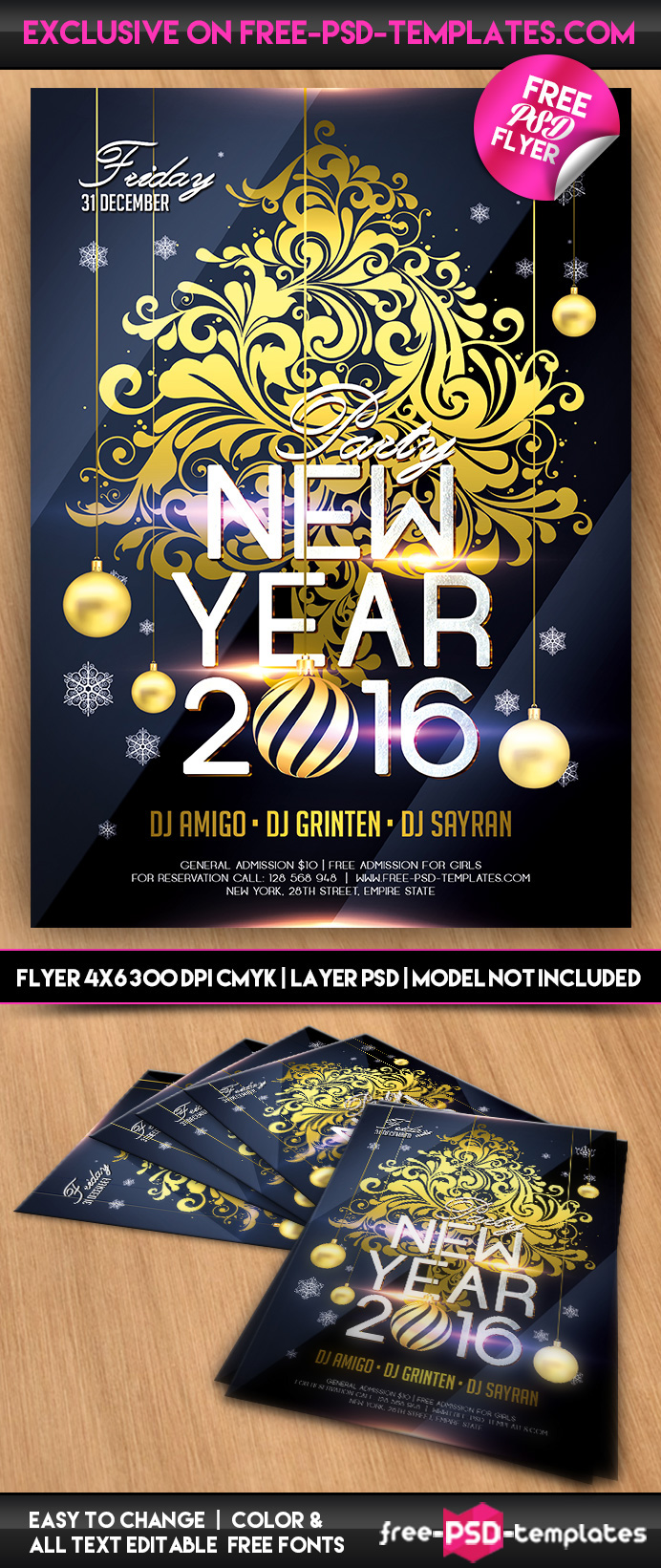 New Year 2016 Free PSD Flyer Template on Behance