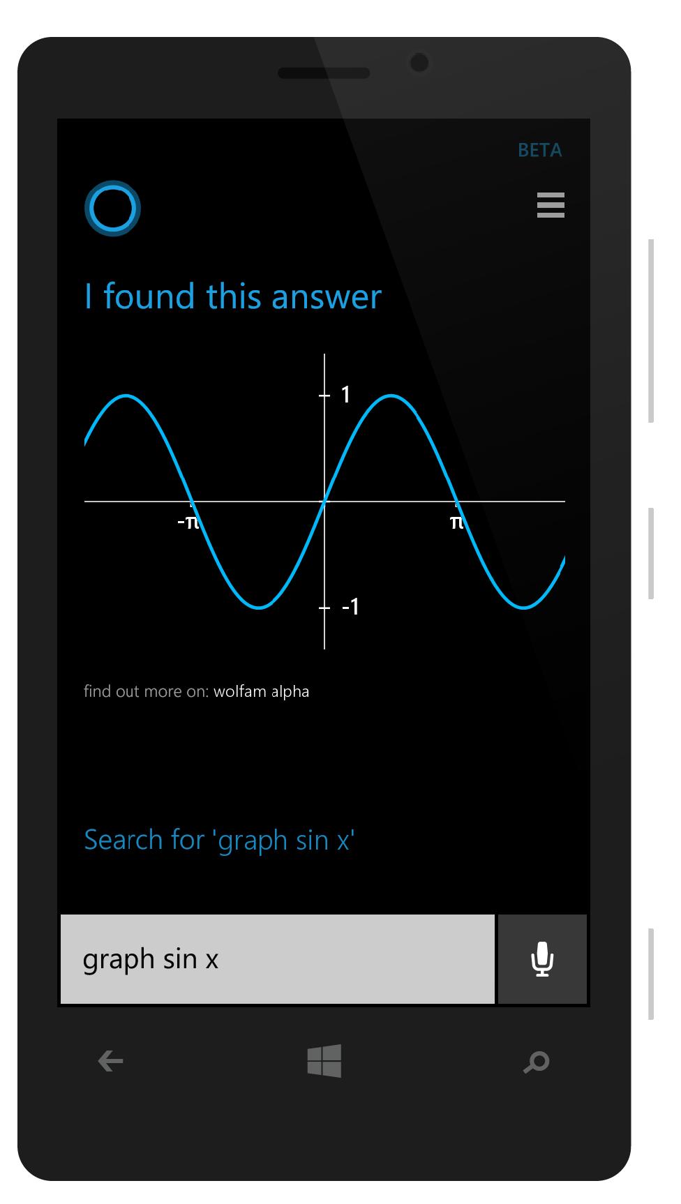 Cortana wolfram alpha windows phone Microsoft windows