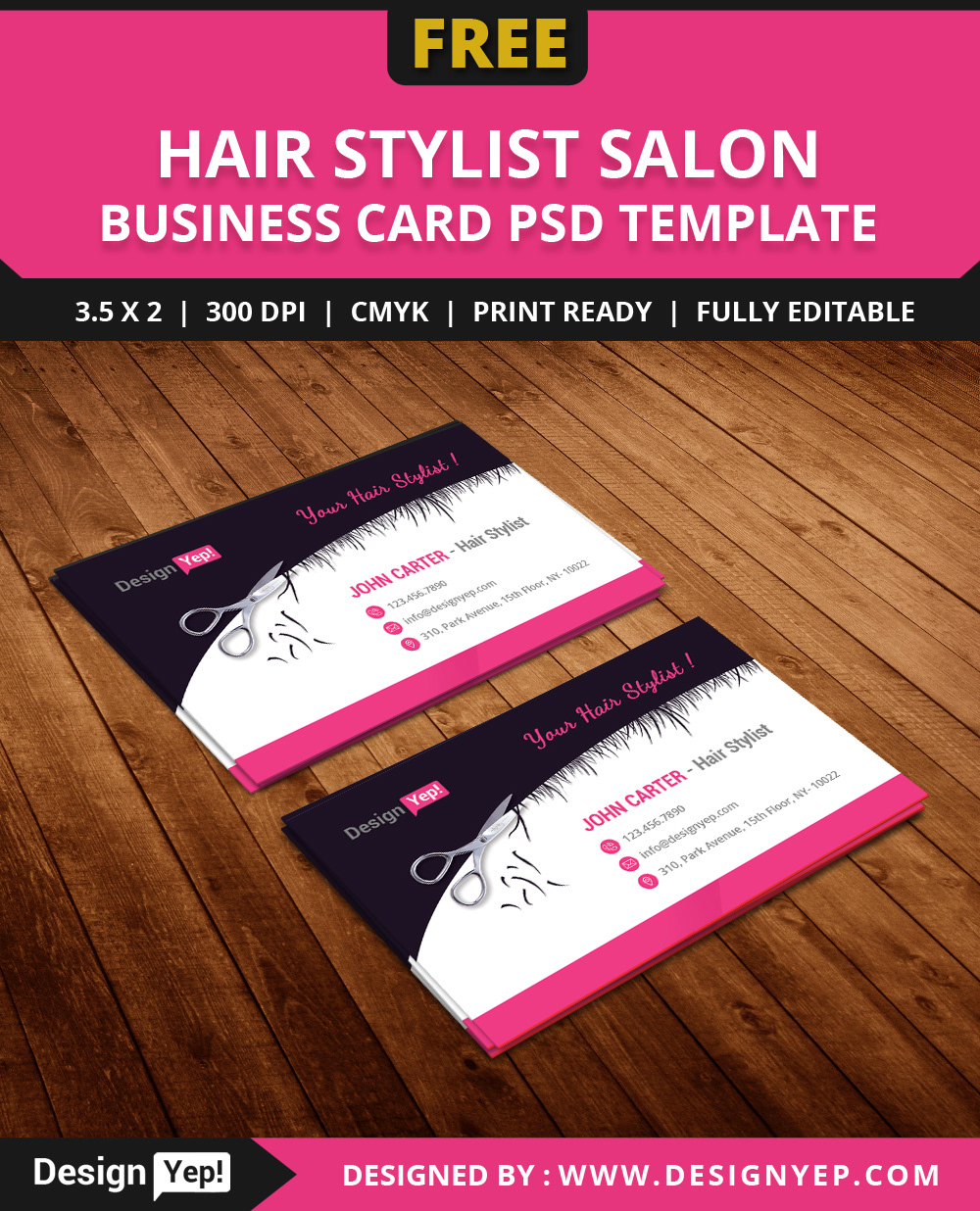 Free hair stylist salon business card template psd on behance wajeb Images