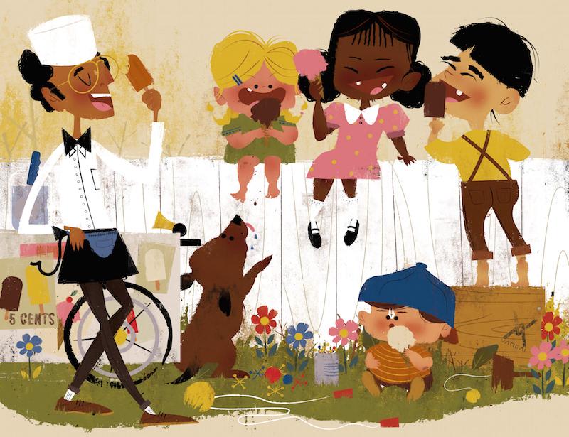 races cute simple ice cream vector art children's book art licensing concept art kids vintage