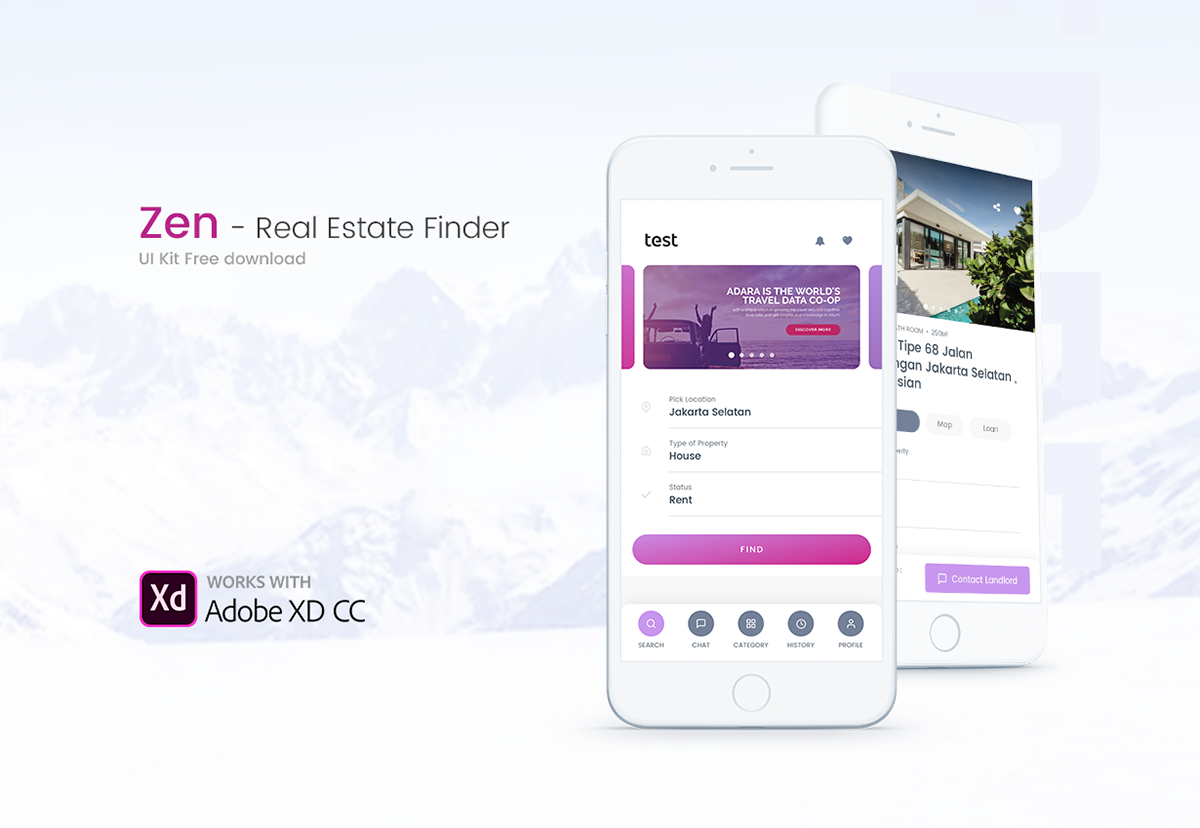 free download Adobe XD booking app ui kit free sketch download xd Mobile app real estate property
